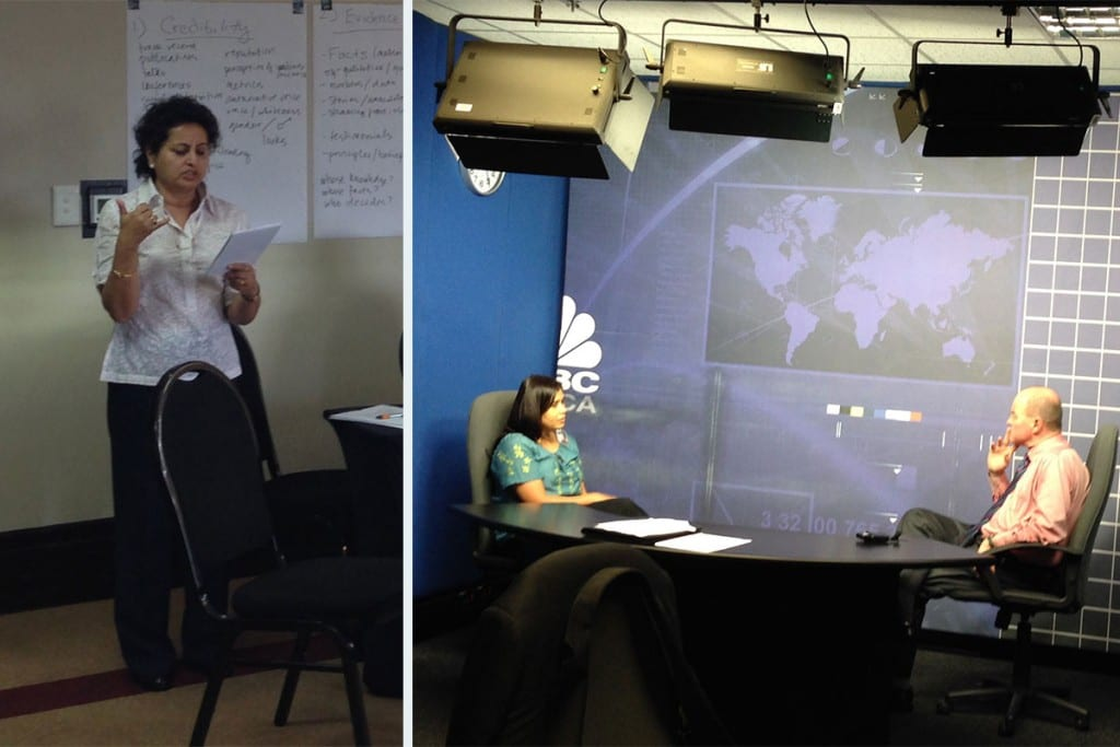 Left: Kusum Thapa practices pitching, Right: Fellow Elsa D'Silva rocks out her on-camera